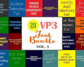 Machine Embroidery Fonts - 20 VP3 Font Bundle - Volume 5 - 20 Husqvarna Viking