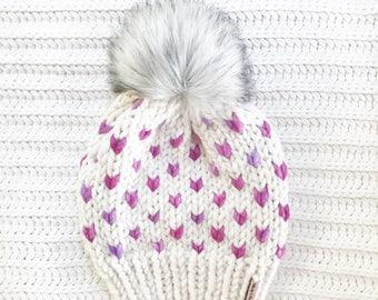Faux Fur Pom Pom, Hand Knit Chunky Hat, Chunky Knit Fairisle Beanie, Knit Pom Pom Hat / / THE MINNEHAHA, Ready to Ship