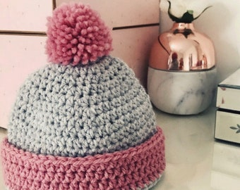 Beautiful Handmade Crochet PomPom Hat.x