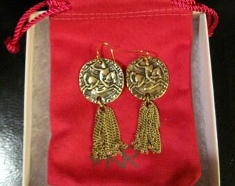Retired-Silpada-Etched Brass-Garden Gate-Earrings,Silpada-Earrings,Silpada-Jewelry,Brass-French Wire Drops, Tassel Earrings