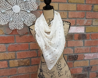 Cream Lace Triangle Scarf, Spring Scarf, Bandana Scarf, Cream Lace, Knit Lace, Elegant Scarf, Lace Shawl, Summertime Scarf
