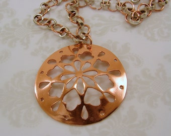 Hand Cut Copper Fret Work Pendant and Mixed Metals - Copper and Silver - Chain Necklace