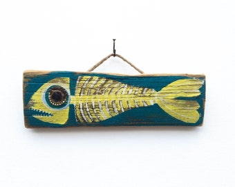 Personalize This Original Art Item-Fish Art Handmade on Reclaimed Wood Fish Beach House Decor Kids Room Beach Art Fish Wall Art Mangoseed
