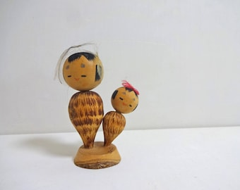 3.5inch Vintage Japanese Miniature Wood KOKESHI Doll
