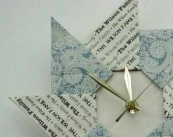Unique Housewarming Wedding New Apartment Gift Origami Clock -  Blue Paisley