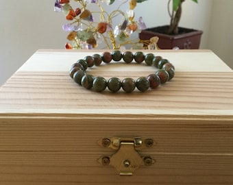 "Handmade Natural Unakite Bracelet, 7"" Unakite Gemstone Stretch Bracelet, Protection, Healing, Illness Recovery,  Third Eye  Bracelet"