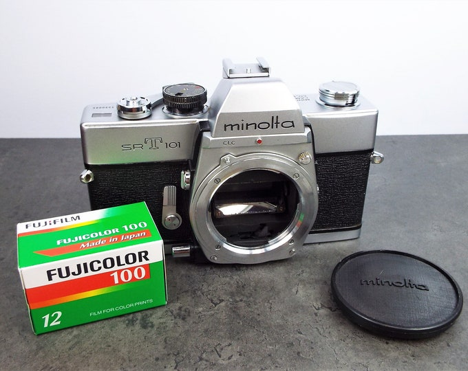 Vintage Minolta SR-T 101 35mm SLR Film Camera - Fully Working - Accurate Meter & Shutter - Includes Minolta Body Cap and Free Fujicolor Film