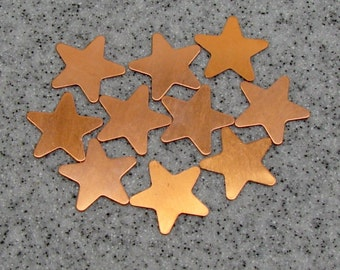20mm Copper 5-Point Star 24 Gauge  Pack of 10