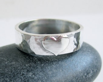 Sterling Silver Heart Ring - Personalized Ring