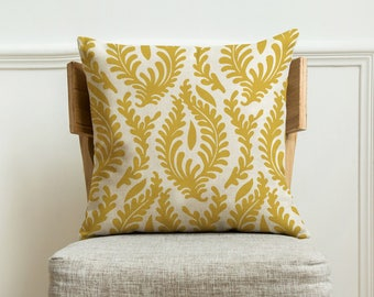 Handmade home throw decorative pillow cover 18x18 in,Yellow Floral Decorative Pillow case with Zipper.Burlap cushion pillow covers for sofa