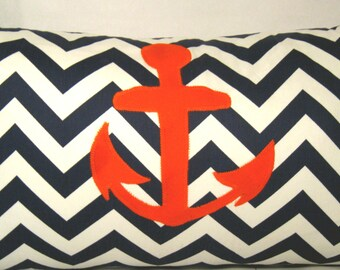 Anchors Away ZigZag blue/White/orange pillow cover 14 X 24
