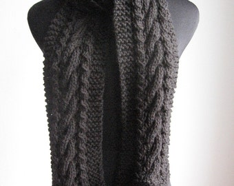 Cable and Lace Scarf, Vegan Knits, Winter Accessories, Cable Knit Scarf, Fall Accessories, Mens Scarf, Womens Scarf, Winter Scarf