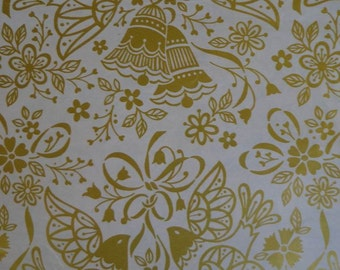 Vintage Gift Wrap 1970s Wedding Wrapping Paper--Golden Print--Two Sheets NIP