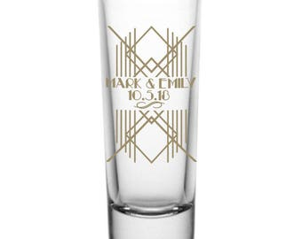 Art Deco Roaring Twenties Personalized 2oz Tall Glass Tequila Shot Glasses Wedding Favors - Great Gatsby Theme - Custom Wedding Favor