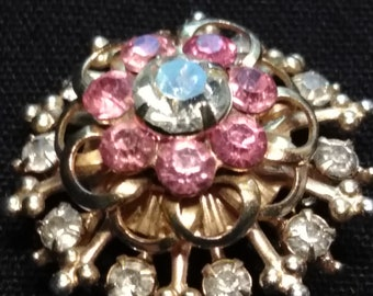 1970 Brooch with Pink Stones and a CZ