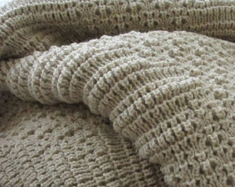 Knitted Afghan, Throw Blanket, Stone, Zigzag or Diamond Pattern