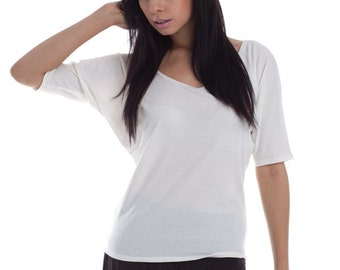 Dreamer Casual Tee - Soft Womens Top Shirt Ivory Long Shirt