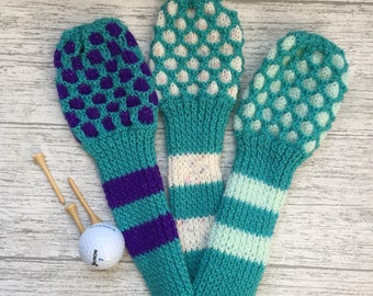 Golf club headcover set, golf club protection, hand knitted covers, headcovers, utility woods, driver, golf gift,