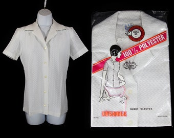7 Dollar Sale---Vintage 70's Deadstock White Polyester Short Sleeved Blouse Pick Your Size M or L