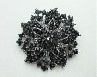 Black Crystal Rhinestone Brooch,Crystal Rhinestone Jewelry Brooch,Bridal Bouquet Brooch, Wedding Sash Brooch