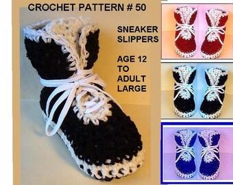 CROCHET SNEAKER PATTERN,  slippers num 50, Age 12 to Adult large slipper.