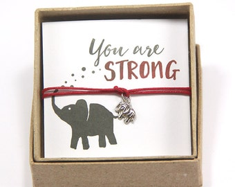 Elephant Bracelet- You are strong, Strength Bracelet, Yoga Bracelet, Strength Bracelet, Gift for Best Friend, Party Favor, Gift for Yogi