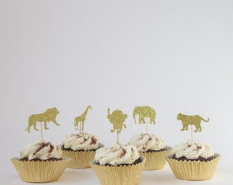 Safari Animal Birthday Cupcake Toppers//Party Decorations/Animal Toppers/Lion/Tiger/Monkey/Rose Gold/Jungle fun/Wild Animal Collection