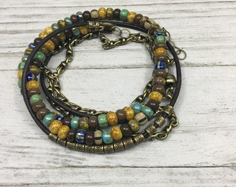 Rustic Multi-Strand Wrap Bracelet, Earth Tone Beaded Bracelet, Leather, Layered, Button Closure, Seed Bead Bracelet, Gift For Her