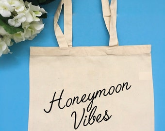 Honeymoon Vibes Tote Bag Customizable Tote Bag Bride Tote Bag Gift for Bride Engagement Gift Vacation Tote