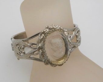Vintage Clear Glass Intaglio Cameo Hinged Bangle Bracelet