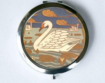 Art Nouveau Swan Compact Mirror Pocket Mirror design Pattern