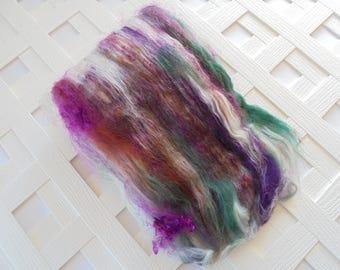 SLEDDING IN FLAGSTAFF Textured Art Batts, Chunky Art Batts, Spinning Batts, Merino Wool, Superwash bfl, silk, Kid Mohair Locks, Spinning