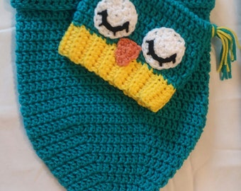 Crochet Teal Owl Cocoon with Hat - Newborn Owl Cocoon with Hat - Owl Cocoon with Hat - Handmade Owl Cocoon with Hat