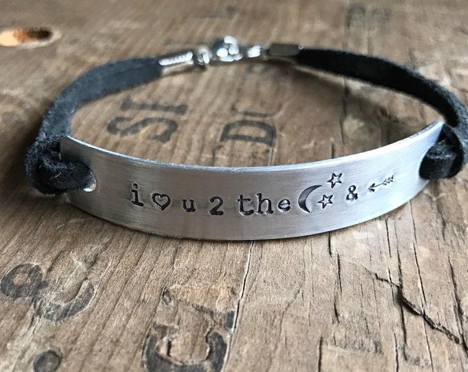 I love you to the moon and back bracelet - black suede friendship bracelet