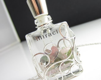 Miracle Necklace - Repurposed Perfume Bottle With Sterling Silver and Mixed Tourmaline Gems