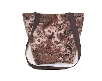Brown Paisley Purse, Small Fabric Bag, Handmade Handbag, Cloth Purse, Black, Paisley, Flowers, Floral Teen Purse