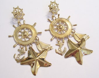 Huge Vintage Gold Plated Nautical Sailboat Ship Wheel Anchor Starfish Pierced Earrings with Dangles, Gold Nautical Earrings, Beach Jewelry
