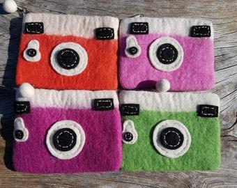 Cute Camera Style Felt Purses, Handmade Felt Camera Coin Purse