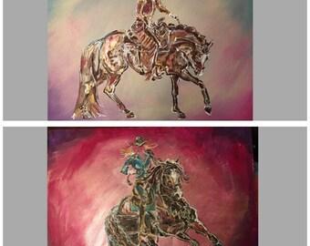 Kids western Room Decor. Kids cowboy Decor. Custom western painting.  18x20 western painting. Choice of 2 Designs: western pleasure/Barrel