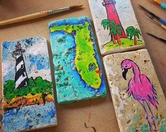 Florida lighthouse flamingo pelican trivets hand painted tile