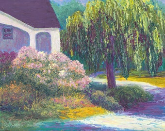 Impressionist oil painting Cottage Retreat colorful original Impressionistic plein air knife painting  willow tree flowers