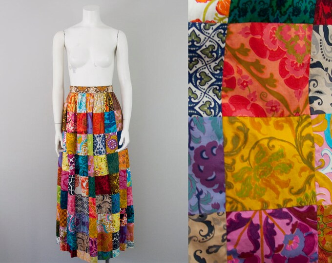 "60s Vintage Patchwork Cotton High-Waist Maxi Skirt (S, M; 27-28"" Waist)"