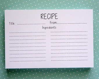 Recipe Cards- Set of 50- Super Cute-Ready to Ship