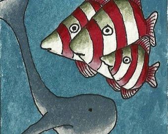 ACEO. Artist trading card. 'Approaching Whale.' Original watercolour.
