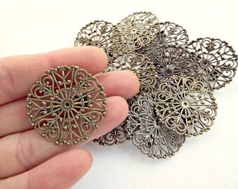 Bronze Brooch Base, 10 Filigree Brooch, Round Brooch Setting, 30mm Filigree Brooch, Brooch Backs, 10 Pin Brooch, Jewelry Supplies, UK Seller