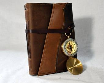 Medium Golden Oak Leather Journal with Compass