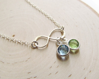 Infinity Necklace Sterling Silver Birthstone, Mothers Necklace, Birthstone Necklace for Mom, Family Birthstone Jewelry, Gift for Mom Jewelry