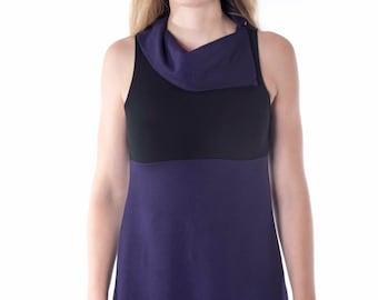 Tunic Mini Dress- Cowl Neck- Sleeveless- French Terry, soy, organic cotton,