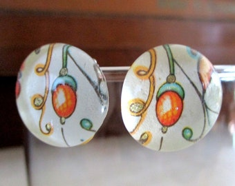 Acorn Glass Gem Clip-on Earrings. Cheerful colors. For Mum?