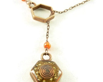 Orgone Energy Honeycomb Lariat Necklace in Antique Copper Finish with Carnelian Stones - Hexagon - Orgone Energy Necklace - Dainty Necklace